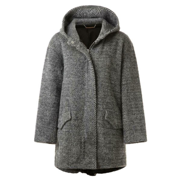 Winterjacke - grau gemustert - Kapuze