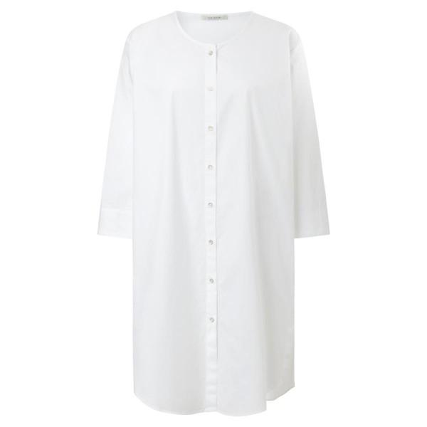 Blusenkleid - durchgehende Knöpfe - 3/4 Arm - weiß
