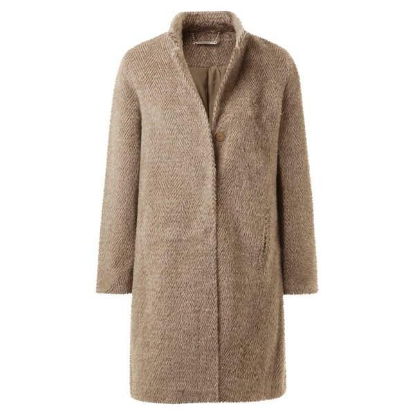 einreihiger Mantel - beige - gemustert - Wolloptik
