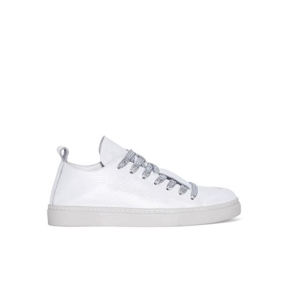 Sneaker - weiß - Leder - Band silver