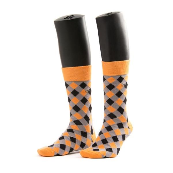 Halbhohe Herrensocken - Kreuzmuster in grau/orange/schwarz