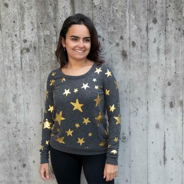 Chaser, Sweater, Black, Stars