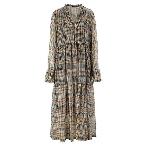 Glencheck-Kleid Midi