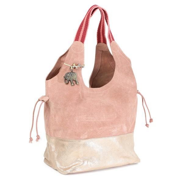 Ledertasche im Vintagelook rosa