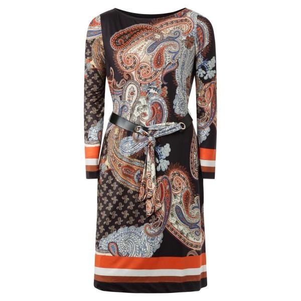 Paisley Kleid - lang Arm - mit Gürtel - schwarz