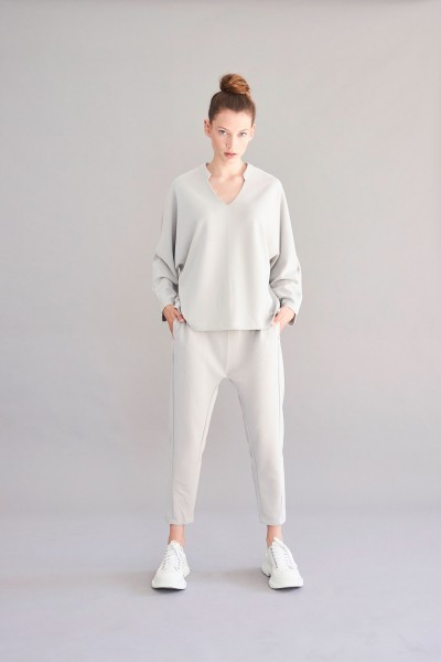 Sweatshirt - weit geschnitten - hellgrau