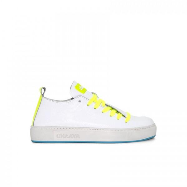 Sneaker - Leder - weiß - Band neon gelb