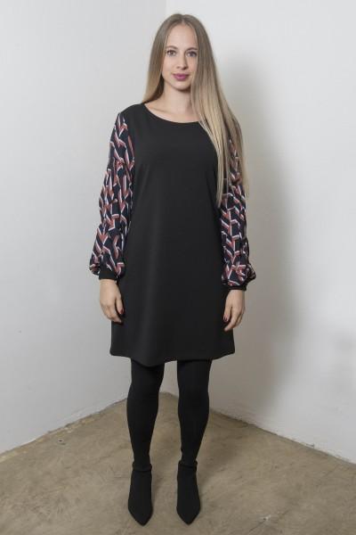 schwarzes Minikleid mit abgesetzten Ärmeln