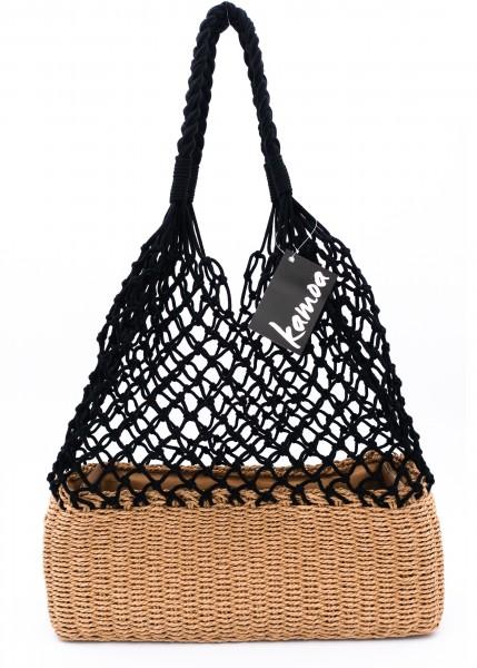 modische Netztasche schwarz mit natur Korbboden