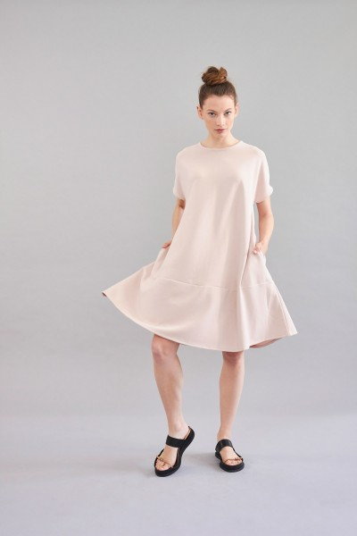 Shirtkleid rose kurzarm A-Linie
